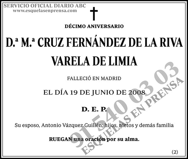 M.ª Cruz Fernández de la Riva Varela de Limia